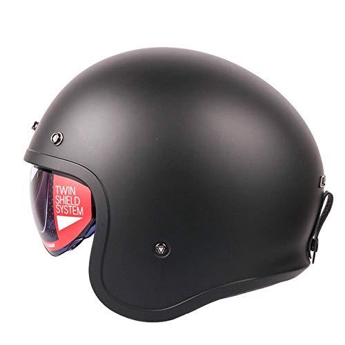 MYSdd Retro-Motorradhelm-Modedesign Retro-Helm mit Schaumstoffschnalle, abnehmbaren Ohrpolstern, eingebautem Objektiv, Sonnenschutz und Staubschutz Matte black-10814 XL