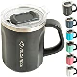 VOLCAROCK Stainless Steel Coffee Mug Cup with Handle, 16 oz Double Wall Vacuum Insulated Travel Mug Tumbler With Clear Slider Lid, Insulated Camping Tea Flask for Hot & Cold Drinks (Black, 1 Pack)