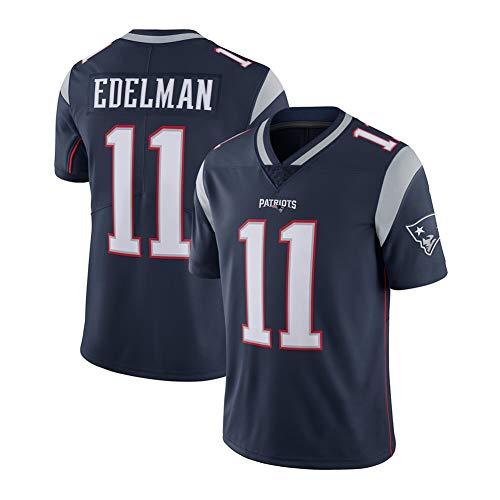 New England Patriots Julian Edelman # 11 Rugby-Trikot, Herren Sweatshirt Kurzarm American Football Shirt T-Shirt S-3XL-Navyblue-XL