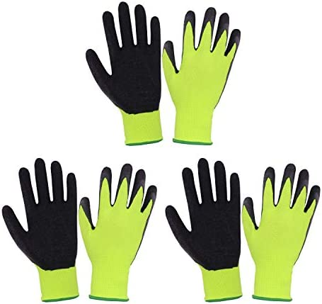 3 Pairs Kids Gardening Gloves for age 2 13 Rubber Coated Palm Garden Gloves for Boys Girls Children product image