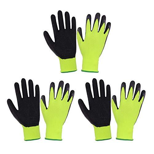 3 Paar Kinder Gartenhandschuhe für Alter 2-13 Jahre, gummierte Handfläche Gartenhandschuhe für Jungen Mädchen, Kinder Garten Greifhandschuhe (Größe 3 (Alter 5-6), grün 3 Paar)