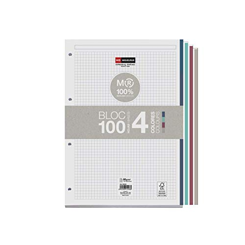 MIQUELRIUS - Bloc Recambio 100% Reciclado Hojas encoladas - 4 franjas de colores, 100 Hojas cuadriculadas de 5mm, Tamaño A4, Papel 80 g, Con 4 Taladros