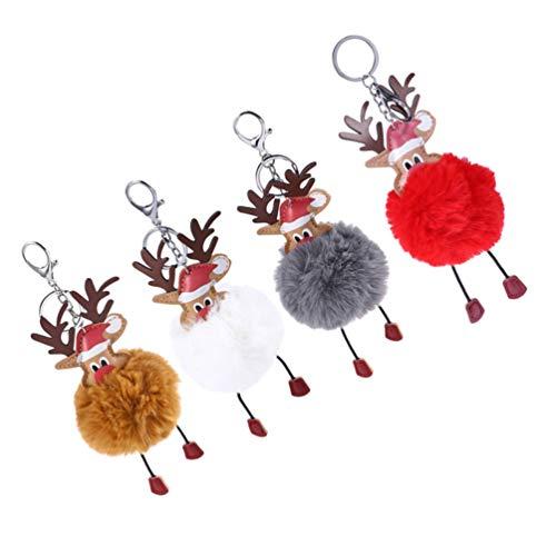PRETYZOOM 4pcs Pompom Schlüsselanhänger Weihnachten Plüsch Elch Anhänger Rentier Figuren Weihnachtselch Taschenanhänger Schlüsselbund Geschenk Handtasche Rucksack Dekoration Party Mitbringsel