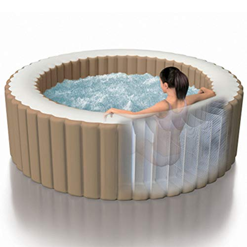 Broccoli Portable Inflatable Hot Tub Spa with 120 Bubble Jets and Built in Heater Pump, for 4 Adult, Solid and Stable, Ideal for Home and Hotel Use