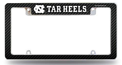 Rico Industries, Inc. North Carolina Tar Heels UNC Chrome License Plate Frame Metal Tag Cover EZ View Carbon Fiber Design All Over Style Heavy Gauge University of