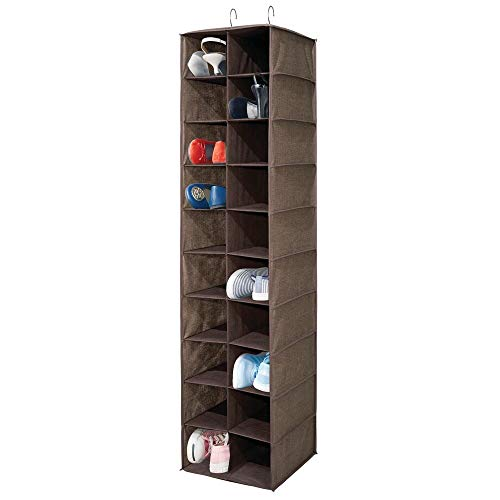mDesign Wardrobe Organiser — Large Hanging Shoe Organiser with 20 Spaces — Hanging Shoe Rack for Wardrobes and Bedrooms — Brown