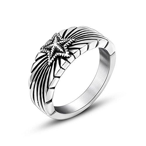 KnBoB Edelstahl Ringe Herren Pentagon Ring Punk Rock Ring 9MM Ringe Silber Ring für Männer Größe 65 (20.7)