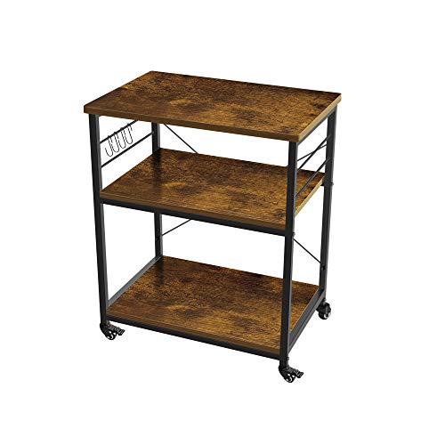 AZ L1 Life Concept 3-Tier Kitchen Rack Utility Microwave Oven Stand Movable Cart Workstation Shelf Pantries, 23.72 inches, Deep Brown
