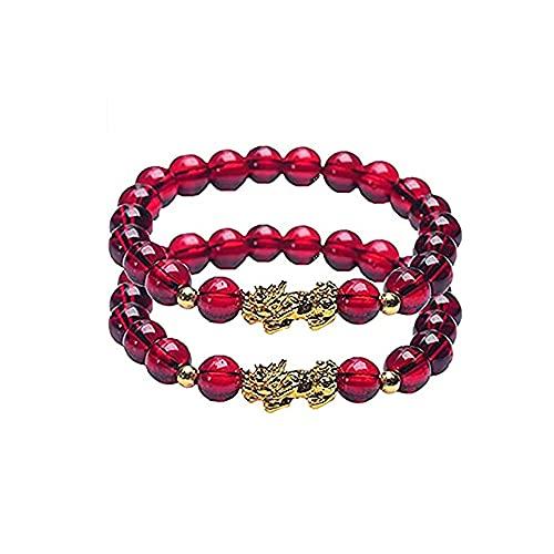 Pulsera de adelgazamiento de granate, gemas de granate rojo, cadenas de mano, pulsera de adelgazamiento de granate de Chakra elástico, pulsera de reiki de yoga para aliviar el estrés (2 piezas)