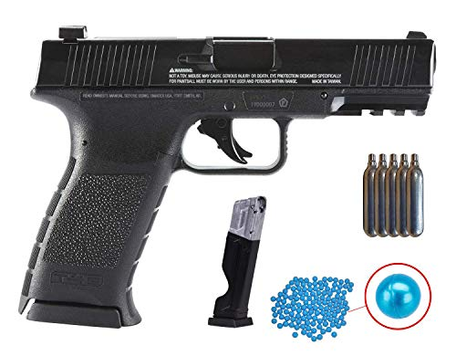 Wearable4U Umarex T4E TPM1 (8XP) .43 Cal Black Paintball Marker Training Pistol with Pack of 100 .43 Cal Blue Paintballs and 5x12gr CO2 Tank Bundle