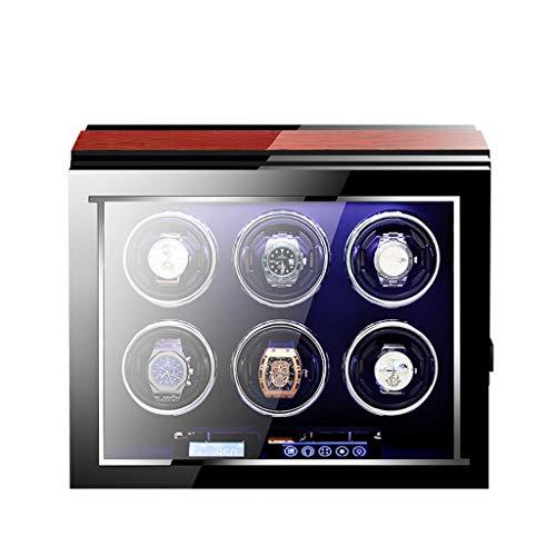 SYN-GUGAI Watch Enrollador Caja De Relojes Automáticos De Lujo con Pantalla Táctil LCD De Motor Mabuchi Silencioso y Control Remoto Ver Caja Enrolladora (Size : 6+0)