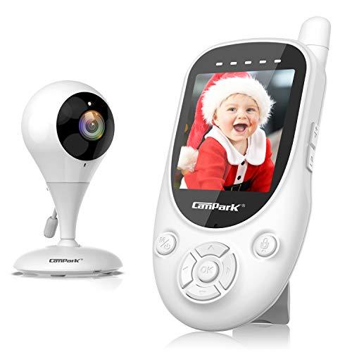 Campark Babyphone mit Kamera, 2,4 Zoll Baby Monitor Video, 2,4 GHz Baby Überwachungskamera 300M Reichweite, Gegensprechfunktion kabellos, Temperatursensor, Nachtsichtkamera, VOX und Schlaflieder