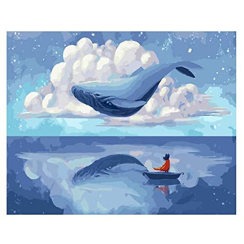 ZWBBO Canvas schilderij Decoratieve schilderijen Diy Foto Door cijfers Vliegende Walvis Kleurplaten Door cijfers Dier Verf Door Nummer