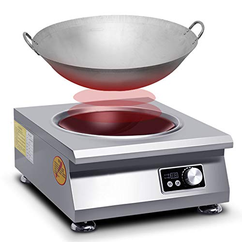 NB.ROSE 3500 Watts Commercial Fry Induction Cooktop Concave Surface Wok Cooker With Knob Control - All stainless steel Material - 220V US Plug