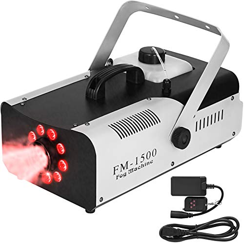 Happybuy 1500W Fog Machine 2L 9 LED Lights Smoke Machine Fog Portable with Wireless Remote Control DJ Fog Machine Stage Fog Machine for Stage Club Parties Weddings and Holidays