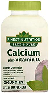 Calcium 500 mg + D3 Strawberry, Orange, Cherry 90ea, 2 pk by Finest Free & Pure