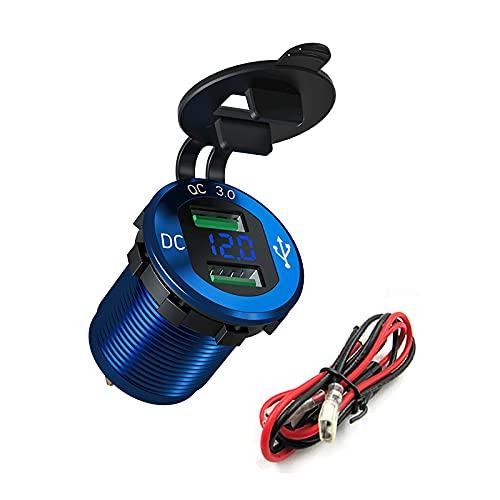SKYSE Cargador de Coche USB Dual QC3.0 Toma de Corriente del Enchufe del Coche Adaptador de Ajuste Al RAS del Coche con Pantalla de Batería LED para Motocicleta del Coche 12V/24V