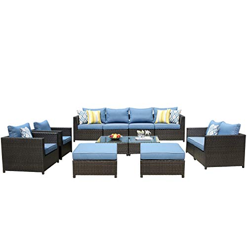 ovios Patio Furniture Set, Big Size Outdoor Furniture 12 Pcs Sets,PE Rattan Wicker sectional with 4 Pillows and 2 Furniture Cover, No Assembly Required (12 Piece Big Size, Blue)