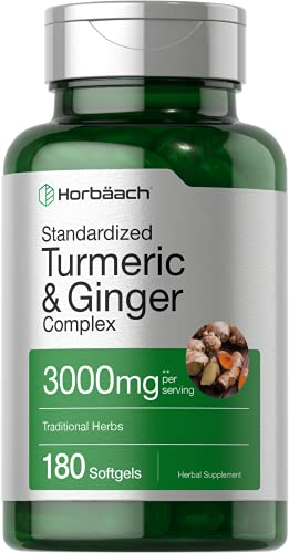 Turmeric and Ginger Supplement   3000 mg 180 Softgel Pills   with Black Pepper Extract   Non-GMO, Gluten Free Supplement   by Horbaach