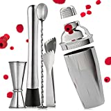 5 Pcs Superior Mixology Cocktail Shaker Set - Bartender Kit with Recipes for a Great Martini & Other Drinks - Bar Tool Kit & Accessories - Stainless Steel Shaker Drink Mixer with Strainer