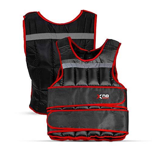 XN8 Verstellbar Gewichtsweste 10kg,15kg,20kg Fitnessweste- Trainingsweste für Krafttraining- Laufen- Fitness- Muskelaufbau (Schwarz/Rot, 20Kg)