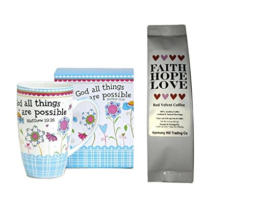With God All Things are Possible 1 Coffee Mug Cup with 1 Faith Hope Love Red Velvet Coffee Matthew 19:26 Christian Gift Set 2 Item Bundle