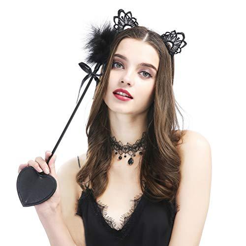 Amosfun Leder Spanking Paddel mit Spitze Katze Ohr Stirnband Halskette Phantasie Kostüm Hochzeit Valentinstag Geschenke für Party Rolle spielen Flirten Spielzeug