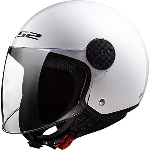 LS2 OF558 Sphere Casco Moto Jet Abierto para Motocicleta Ciclomotor y Scooter con Visera Larga Cascos de Moto Mujer y Hombre ECE Homologado Blanco Brillante XS (53-54cm)