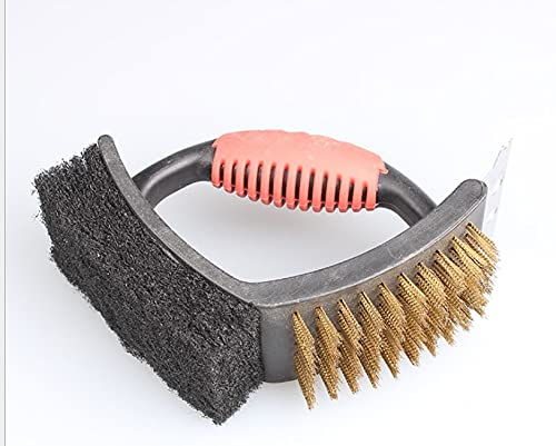 Cfanbp Barbecue Brushes Barbecue tool three in one cleaning brush kitchen cleaning brush hot pot restaurant barbecue shop charcoal brush Barbecue BrushesYlcxdm