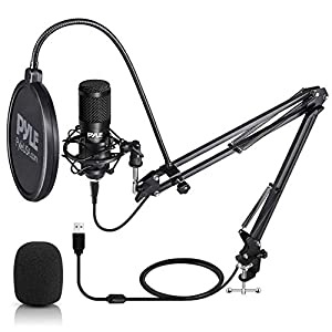 PYLE USB Microphone Boom Mic Kit - Audio Cardioid Condenser Mic w/Boom Arm Stand and Pop Filter - for Gaming PS4, Streaming, Podcast Kit, Studio, YouTube, Works w/Windows Mac PC - Pyle PDMIKT140