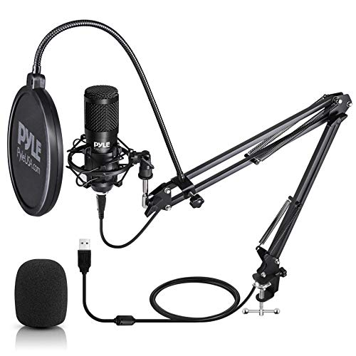 USB Microphone Boom Mic Kit - Audio Cardioid Condenser Mic w/Boom Arm Stand and Pop Filter - for Gaming PS4, Streaming, Podcast Kit, Studio, YouTube, Works w/Windows Mac PC - Pyle PDMIKT140