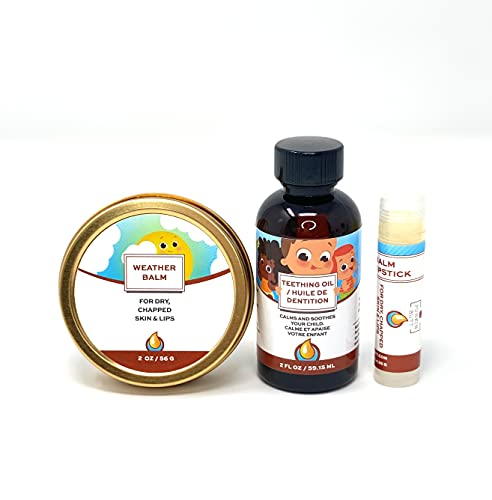Punkin Butt Teething Oil and Baby Weather Balm Set for Sore Gum Relief and Dry Chapped Skin from Drool Rash | All Natural, Organic, Safe for Infants, Chemical-Free