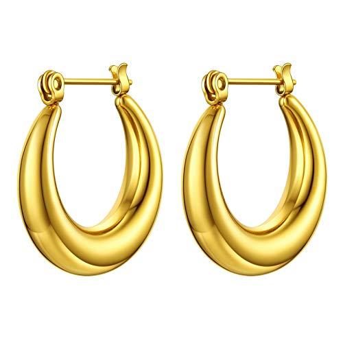 PROSTEEL Chunky Gold Hoop Earrings Mens Gold Hoops