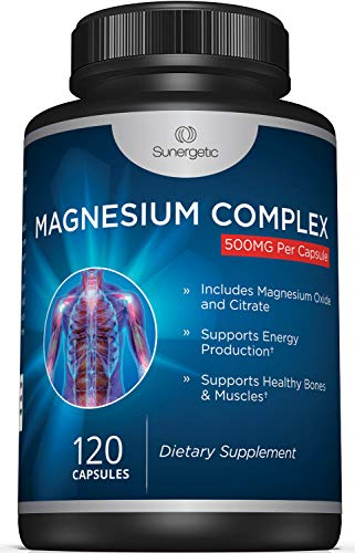 Sunergetic Magnesium Citrate Capsules – Powerful 500Mg Magnesium Oxide & Citrate Supplement – Helps Support Healthy Bones, Muscles, Teeth, Energy & Relaxation – 120 Vegetable Capsules