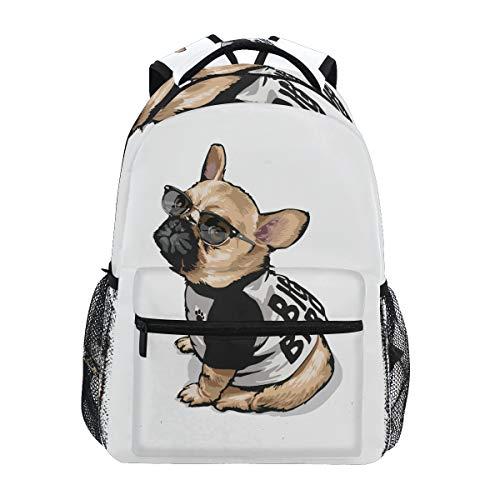 Mochila escolar para niñas y niños de dibujos animados lindo perro carlino personalizado bolsa de libros senderismo camping mochila