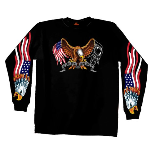 Hot Leathers Some Gave All Long Sleeve T-Shirt (Black, XXX-Large)