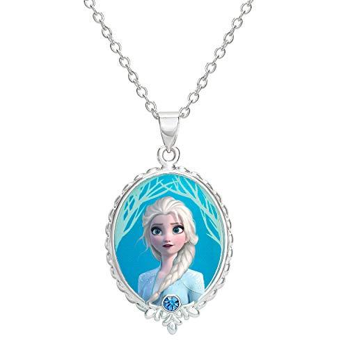 Disney Frozen 2 Elsa Fine Silver Plated Pendant Necklace, 16 + 2' Extender