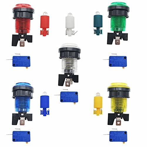 CTRICALVER 5 pcs * 32mmLED Botones Arcade Switches, con microinterruptor (5colores)