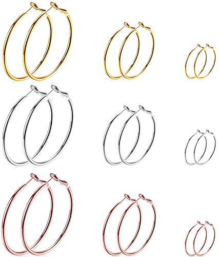 Cocamiky 9 Pairs Big Gold Silver Rose Gold Plated Hoop Earrings Set for Women Girls Stainless Steel Earrings Hypoallergenic Fashion Jewelry Gift (25/40/60mm)