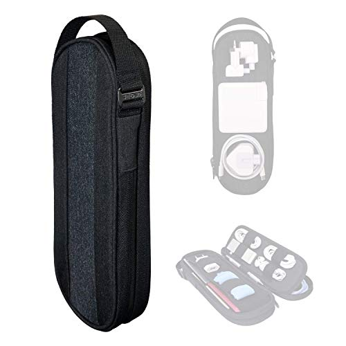 SIDE BY SIDE_POWER PACKER Travel Tech Pouch Organiser - Electronics & Cord Case - Cables & EDC Gear Bag (Shadow)