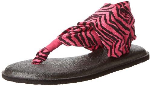 Sanuk Kids Girls' Y Yoga Sling Burst, Fuchsia/Zebra, 5/6 M US Little Kid