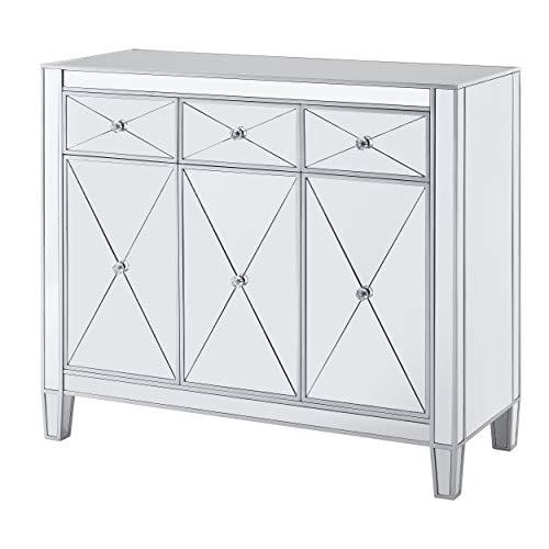SEI FURNITURE Mirage Cabinet, Mirrored with matte silver trim