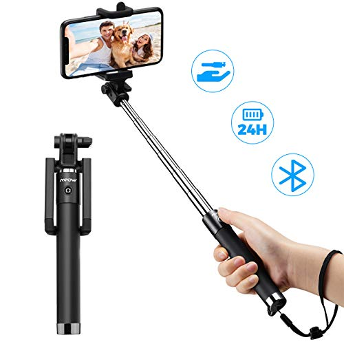 Bluetooth Selfie Stick, Mpow Extendable Monopod Clamp Phone Holder with Wireless Remote for Travel Family Photos-Compatible with iPhone 11/11 Pro/ XS/XR/XS Max/8/8 Plus/7/X Plus/6s, Galaxy S10/S9/8