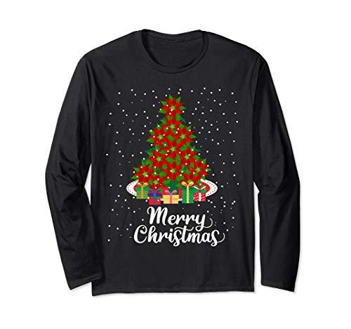 Women's Merry Christmas Poinsettia Flower Tree Plant Gift Long Sleeve T-Shirt