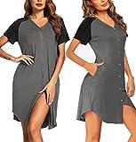 Ekouaer Women's Nightgown Short Sleeves Nightshirt V-Neck Sleepwear Button Down Pajama Dress Middle Grey