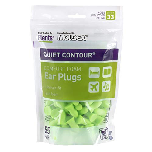 Flents Ear Plugs, 55 Pair, Ear Plugs for Sleeping, Snoring, Loud Noise, Traveling, Concerts, Construction, & Studying, Contour to Ear, NRR 33, Green