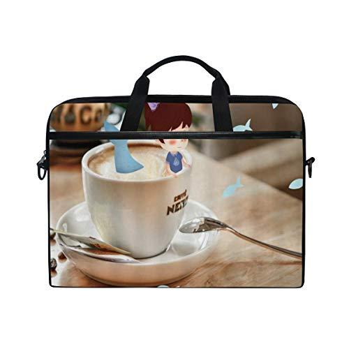 VICAFUCI New 15-15.4 Zoll Laptop Tasche,Umhängetasche,Handtasche,Fantasie-Kaffeetasse-kleines Mädchen-Meerjungfrau-Schwanz im Porzellan-modernen Haus-Schreibtisch kreativer Art Design