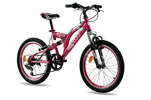 KCP 20 Zoll Mountainbike Kinderfahrrad - JETT FSF pink - Vollfederung Kinder Fahrrad für Jungen und Mädchen mit 6 Gang Shimano Schaltung - für Kinder zwischen 6-9 Jahre und 1,20-1,40m Körpergröße