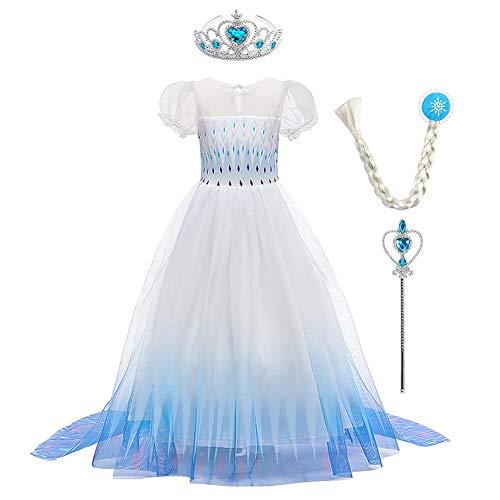 Disfraz de princesa de Frozen 2 Elsa para nias, disfraz de reina de nieve, disfraz de Halloween, Navidad, carnaval, cosplay, copo de nieve, cumpleaos, tul tut