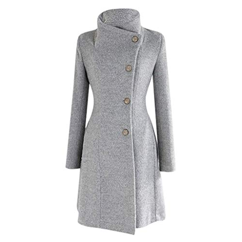 ZEFOTIM Womens Winter Fur Lapel Wool Coat Trench Jacket Long Sleeve Overcoat Outwear(Large,Grey)